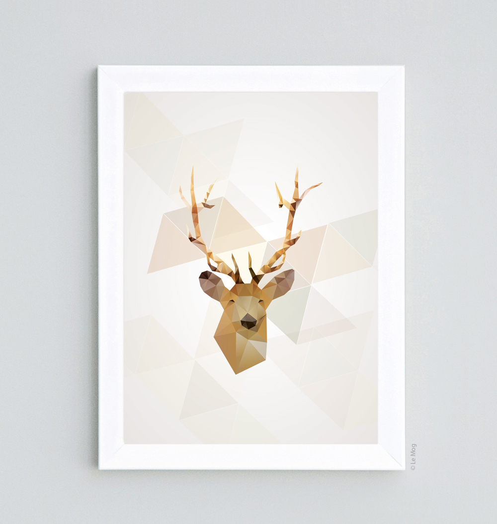 Affiche scandinave geometric cerf d coration murale for Affiches scandinaves