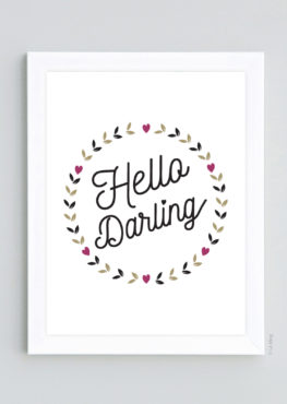 Poster deco scandinave Hello Darling