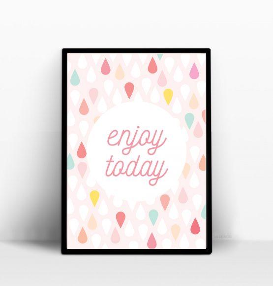 enjoy today affiche positive couleur pastel