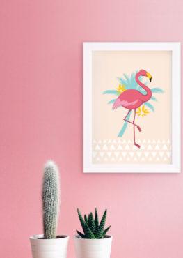 affiche décoration murale motif flamant rose palmier