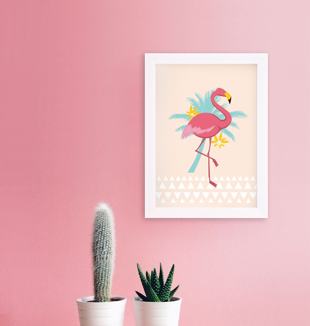 affiche d coration murale flamant rose illustration flamingo palmier. Black Bedroom Furniture Sets. Home Design Ideas