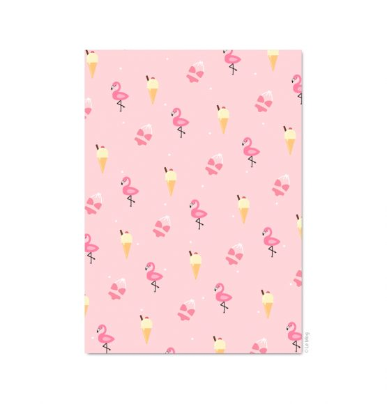 carte flamant rose glace