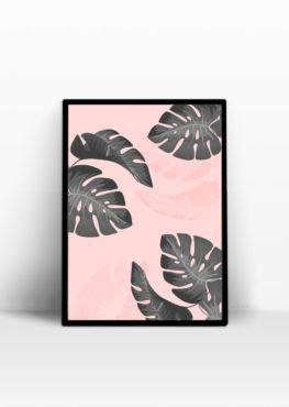 Affiche palmiers rose, décoration tropical - Le Mog